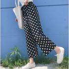 Dotted Chiffon Cropped Wide-leg Pants As Shown In Figure - One Size