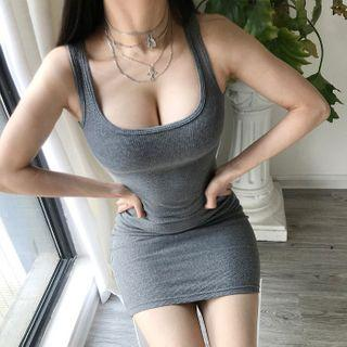 Plain Sleeveless Bodycon Dress Gray - One Size