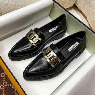 Chain Detail Pointed Block Heel Loafers