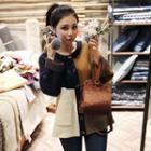 Wool Blend Color-block Cardigan
