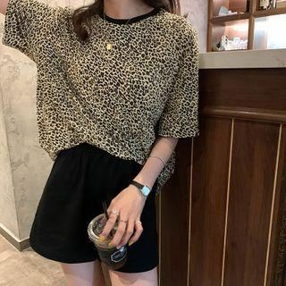 Contrast Trim Leopard Printed T-shirt As Shown In Figure - One Size