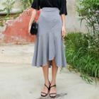 Ruffle-hem Check Long Skirt