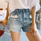 Contrast-panel Distressed Denim Shorts