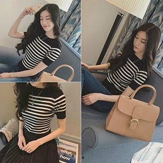 Striped Short Sleeve Knit Top