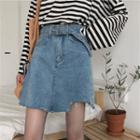 Washed Irregular Denim A-line Skirt