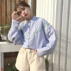 Long-sleeve Embroidery Gingham Shirt