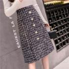 Midi A-line Tweed Skirt
