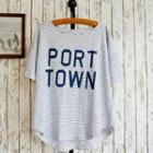 Lettering Striped Top