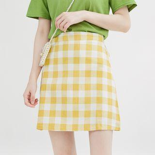 Plaid A-line Skirt Plaid - Red - One Size