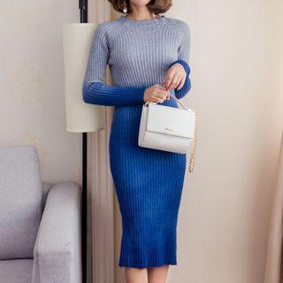 Long-sleeve Gradient Knit Dress
