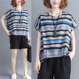Striped Short-sleeve Top As Shown In Figure - One Size