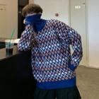 Pattern Turtleneck Knit Top