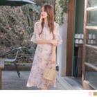 Bell Sleeve Floral Print Chiffon Dress
