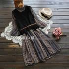 Set: Sleeveless Knit Top + Ruffle Patterned Dress