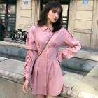 Long-sleeve Mini Shirtdress As Shown In Figure - One Size