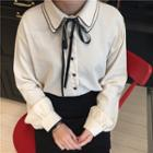 Contrast Trim Collared Shirt