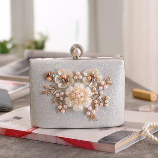 Faux Pearl Flower Crossbody Bag