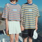 Couple Matching Striped Elbow-sleeve T-shirt