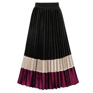 Color Block Midi Accordion Pleated Skirt