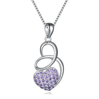 Love Dancing - 925 Sterling Silver Purple Cz Necklace