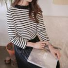 Pleated-neck Striped T-shirt