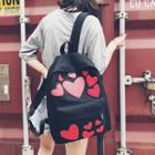 Heart Applique Canvas Backpack