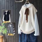 Tie-neck Hooded Knit Vest