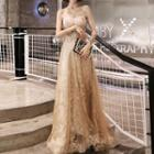 Off-shoulder Sequined Ruffled A-line Evening Gown