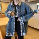 Mock Two-piece Plaid Trim Denim Jacket Blue - One Size