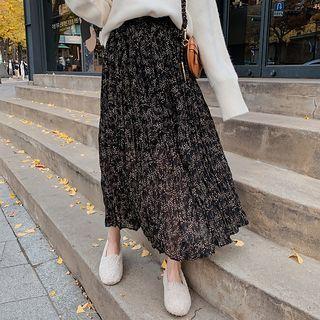Flower Print Midi Chiffon Skirt