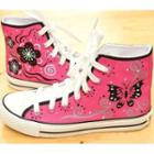 Painted Lace-up High-top Canvas Sneakers