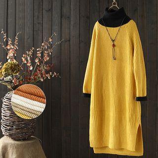 Long-sleeve Two-tone Knit Dress