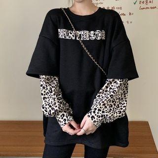 Mock Two-piece Leopard Print Panel Sweatshirt Leopard Print - Black - One Size