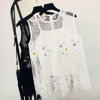 Set: Embellished Lace Sleeveless Top + Camisole Top
