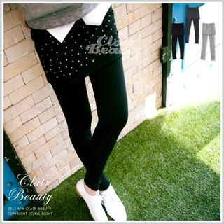 Inset Studded Skirt Leggings