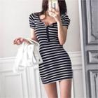 Stripe Slim-fit Henley Dress