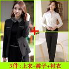 Set: Long-sleeve Shirt + Dress Pants + Collarless Blazer