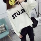 Lettering Asymmetrical Sweater