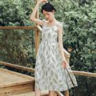 Leaf Printed Sleeveless Dress