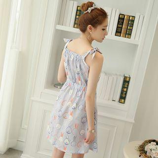 Tie Strap Shirred Waist Chiffon Dress