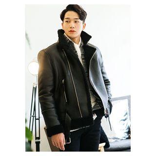 Faux-shearling Biker Jacket With Belt