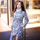 Furry Collar Floral Woolen Coat