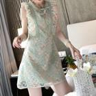 Sleeveless Ruffled A-line Lace Dress