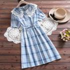 Short-sleeve Lace Trim Plaid A-line Midi Dress