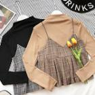 Set: Plain Long-sleeve Top + Check Pleated Camisole Top
