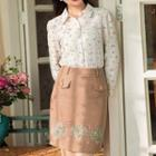Wool Blend Embroidered Pocket-accent Skirt