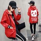 Panda Print Hooded Zip-up Jacket