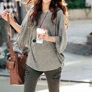 3/4-sleeve Top Gray - One Size