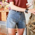 Distressed-hem Denim Shorts