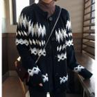 Pattern Round-neck Cardigan